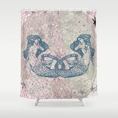 Double+Mermaids+Shower+Curtain+by+Supermaggie+-+$68.00
