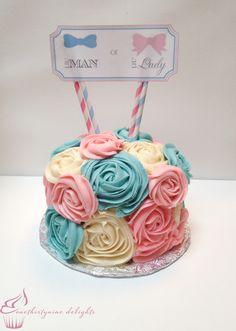 Gender Reveal Roses Cake