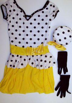 Curtain Call Girls Dance Costume Tap Jazz Yellow White Black Polka Dot CME  #CurtainCall