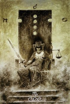 Luis Royo - The Labyrinth Tarot - Major Arcana: Justice 11 / Libra Fairnew, harmony, equality, cause and effect. Objective thinking restores balance, interaction and communication are essential, accepting the truth, taking responsibility for your choices, making decisions, looking at both sides of the argument, sexual equality.