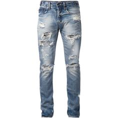 Prps Japan ripped slim fit jeans American Rag (66670 RSD) ❤ liked on Polyvore featuring jeans, men, pants, jack hills, distressed slim jeans, slim jeans, distressed jeans, ripped slim fit jeans and distressing jeans
