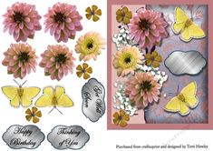 - This is a very pretty decoupage card front, that is really easy to make. The sheet comes with 3 different labelsThinking. Your Cards, Thinking Of You, Embellishments, Decoupage, Card Making, Greeting Cards, 3d, Yellow, Floral