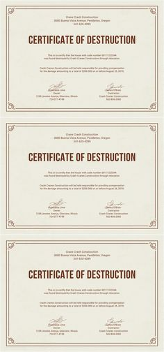 free certificate of destruction template destruction certificate design for consrtuction field fully editable and