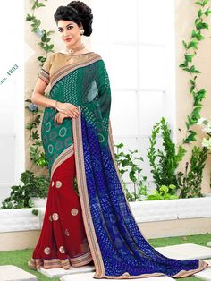 Red with Blue Bandhej Print Embroidered Bandhni Saree