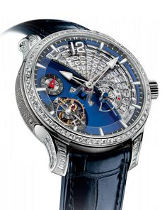 Tourbillon 24 Secondes Contemporain Serti | Greubel Forsey Contemporary GF01c White gold Mvt blue oxidized titanium With its ocean of blued titanium and sparkling 'white horses' in diamonds animated by the action of the 24-second tourbillon, this new diamond-set Tourbillon 24 Secondes Contemporain evokes a maritime theme... The eye following the track of the hands is in turn dazzled by the pavé of diamonds and mesmerized http://www.pinterest.com/calibrelondon/