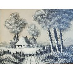 Grey Scale Acrylic Painting Signed Wauters, Vintage, Country Road Leading to Cottage