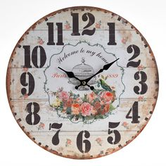 This listing is for one Home Decoration Vintage Style Shabby Chic MDF Welcome To My Home Scene Wall Clock. Price £14.99