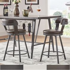 "Shop Harley Faux Leather Metal Swivel Stools (Set of 2) by iNSPIRE Q Modern - On Sale - Overstock - 18707167 - 24""-CounterHeight-Black"