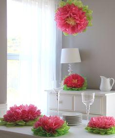 Watermelon Pink Flower Pom Set