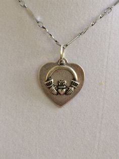Claddagh and Silver Heart Necklace by joytoyou41 on Etsy, $20.00