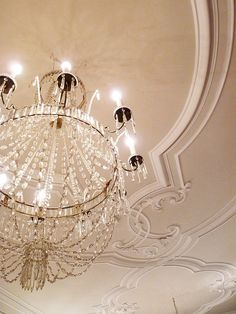 crystals, crystal chandeliers, decorating ideas, fall decorating, ceiling detail, ceilings, moldings, light, sweet dreams
