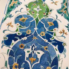 Uzbekistan blue frieze New Original Watercolor