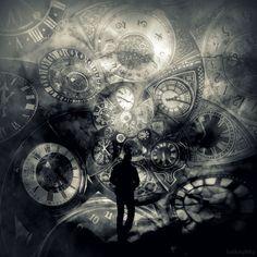Traveller in Time II by lostknightkg on DeviantArt Clock Art, Clocks, Universe Art, Dark Photography, Eye Art, Surreal Art, Dark Art, Time Travel, Character Art
