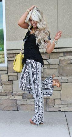 Black and white tribal print palazzo pants.  Get a similar pair on Amazon.