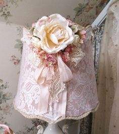 vintage parts pink lace lamp shade boudoir vanity lamp shade vintage rose lighting