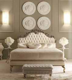 _Carved wooden bed in rose oxidized silver leaf finish, cat. C with deep buttoned headboard and bed Luxury Bedroom Design, Home Room Design, Master Bedroom Design, Living Room Designs, Interior Design, Bedroom Furniture Sets, Bed Furniture, Home Decor Bedroom, Luxury Furniture