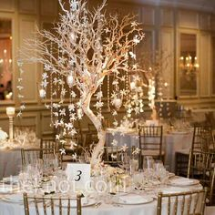 Votive candles and garlands of orchids and crystals hung down from tall Manzanita trees, which decorated some of the tables.