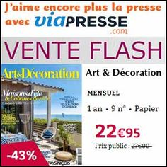 #missbonreduction; Vente Flash : réduction de 43 % sur l'abonnement au magazine Art&Décoration chez Viapresse.	http://www.miss-bon-reduction.fr//details-bon-reduction-Viapresse-i306-c1837221.html
