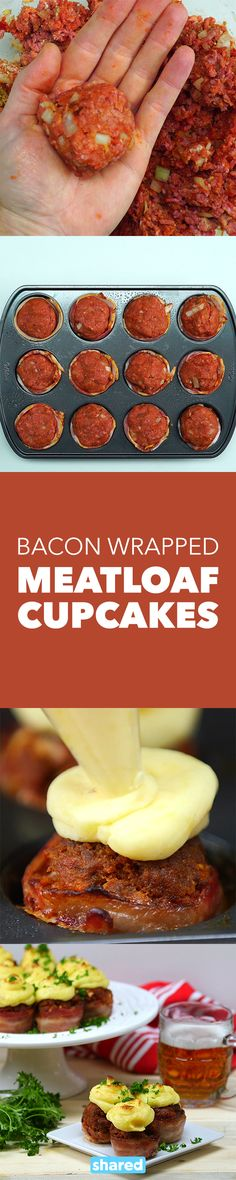 Bacon Wrapped Meatloaf Cupcakes **use egg substitute and no dairy in mashed potatoes