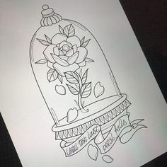 Beauty and the beast bell jar for lyssa tomorrow (hopefully) Really looking forward to this one! For bookings email me … - : Beauty and the beast bell jar for lyssa tomorrow (hopefully) Really looking forward to this one! For bookings email me … - Pencil Art Drawings, Art Drawings Sketches, Easy Drawings, Tattoo Drawings, Tattoo Ink, Easy Disney Drawings, Disney Sketches, Tattoo Blog, Art Disney