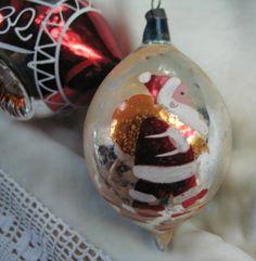 Vintage Santa Glass Ornament vintag ornament, santa glass, christma ornament, glass ornaments