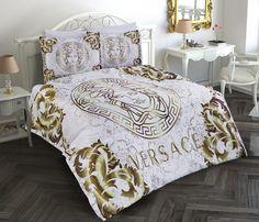 Chanel Bedding, Versace Bedding, Pink Bedding, White Bedding, Bedding Sets, Crystal Bedroom, British Decor, Designer Bed Sheets, Bedroom Decor For Teen Girls