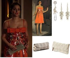 On Blair: Christian Dior Embellished Bow Dress, VBH Ballerina Lace Clutch, Tzen Be My Bride Pearl White Drop Silver Earrings