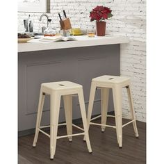 Tabouret 24-inch Cream Counter Stool (Set of 2) - Free Shipping Today - Overstock.com - 18121253 - Mobile