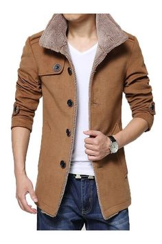 Item Type: Outerwear & Coats Outerwear Type: Jackets Gender: Men Clothing Length: Regular Cuff Style: Conventional Closure Type: Single Breasted Hooded: No Sleeve Style: Regular Pattern Type: Solid Lining Material: Cotton Type: Slim Fit Thickness: Standard