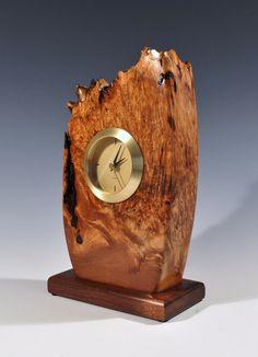 Natural edge maple burl tower clock.