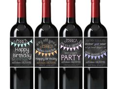 Happy Birthday Wine Bottle Labels Chalkboard Bunting Flags You Choose Colors Customized Personalized Set of 4