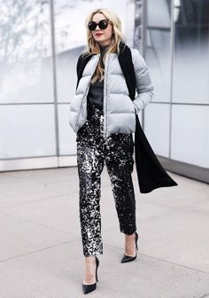 puffer jacket with sequin pants