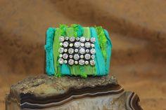 Cowgirl Cuff Bohemian Bracelet Sari Ribbon and by JustSouthOfUrban