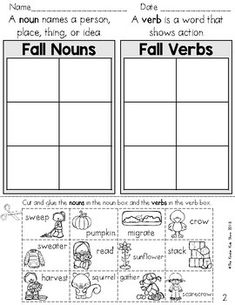 Nouns And Verbs Worksheets, Parts Of Speech Worksheets, Fall Verb, First Grade Classroom, Future Classroom, Teaching Language Arts, Thing 1, Cut And Paste, Second Grade