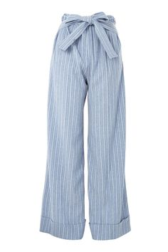 Add volume to your separates with our striking wide leg trousers. In a soft blue wash, these stylish trousers boasts turn up hems, a super-high-waist and customary waist tie. Partner with a swing camisole or boxy blouse to complete the look.