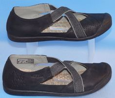 Keen Lower East Side Black Leather Mary Jane Shoes Size 38/7.5 Criss Cross MJ #KEEN #MaryJanes