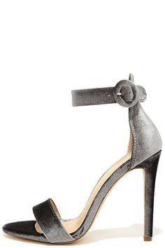 Elias Grey Velvet Ankle Strap Heels
