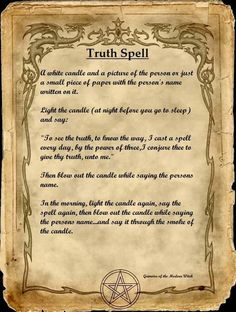 by Jennifer March Magick Spells: Truth Spell. by Jennifer March Halloween Spell Book, Halloween Spells, Truth Spell, Witch Board, Under Your Spell, Elfa, Magick Spells, Hoodoo Spells, Moon Spells