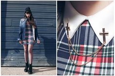 Get this look: http://lb.nu/look/8199087  More looks by Amy Souter: http://lb.nu/amylouisesouter  Items in this look:  Rings And Tings Metal Cross Collar Necklace / Pin, Charity Shop Tartan Collar Dress, Shoe Zone Combat Boots, Drop Dead Shirt   #edgy #grunge #punk #tartan #dropdead #ringsandtings #cross #collarpin #charityshop