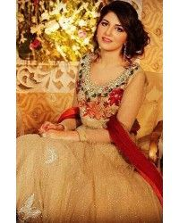Light Golden Crinkle Chiffon Embroidered Anarkali Party Dress
