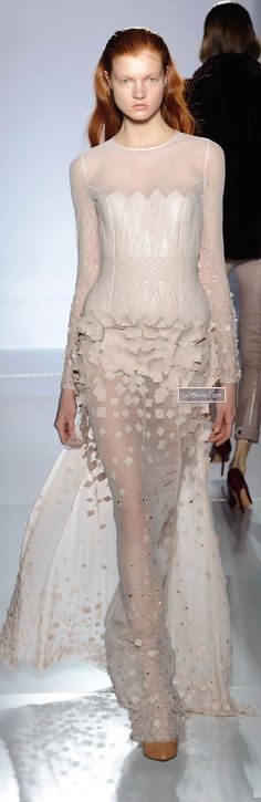 Jitrois Fall Winter 2013 Collection - Wedding Dress embellished with leather. Founded by Jean Claude Jitrois in 1983, Jitrois is a cult leather luxury label