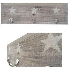 Amazon.de: LS® Design Holz Wandgarderobe Garderobe 3 Haken Stern Shabby Grau Weiss