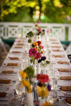 Colorful Wedding Centerpeices 275x412 Glen Echo Park Wedding Reception: Meghan + Stephen