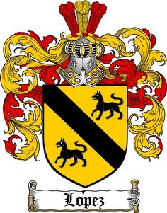 LOPEZ FAMILY CREST - COAT OF ARMS gifts at www.4crests.com
