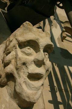 GRIMACES & GARGOYLES: On the walls of the basilica of Notre Dame de Cordon Valenciennes there are 8 faces, 2 per side. These grimaces don't represent chimeras or animals but are free works.  GRIMACES & Gargoyles: Sur les murs de la basilique de Notre Dame de Valenciennes Cordon il ya 8 faces, 2 de chaque côté. Ces grimaces ne représentent pas des chimères ou des animaux, mais sont ouevres libres. Valenciennes, Nord Pas de Calais,(59), France.