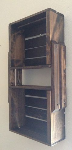 SALE Brown Wooden Crate Hanging Shelf, Wall Mount Fixture  Shelves For  Bookcase, DVDu0027s