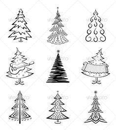 Christmas Trees, Set #GraphicRiver Christmas trees set, black pictogram