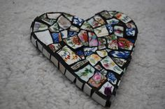 Mosaic Heart made with vintage china