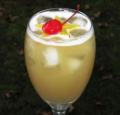 Leg Spreader -2 oz Captain -2 oz Peach Schnapps -2 oz Malibu -4 oz Pineapple Juice -Star Fruit or Cherry to garnish