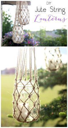 Para colocar na sacada ou no jardim, porta-velas feitos com potes de conserva e macramê. #diy #outdoordecor #masonjars